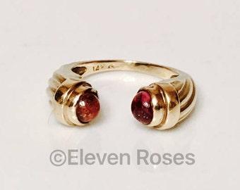 14k Gold Pink Tourmaline Bypass Cuff Ring Renaissance Etruscan Design