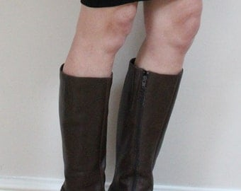 Gorgeous 1970s boots 70s knee high boots vintage knee high  boots brown leather knee high boots vintage boots leather size 6 7 boots 1960s