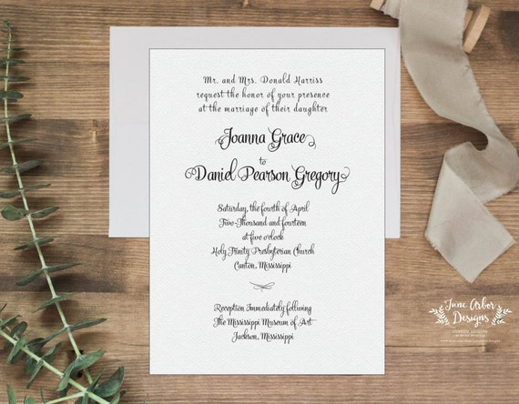 Traditional Elegant Wedding Invitations: Traditional Elegant Wedding Invitation PRINTABLE Or PRINTED