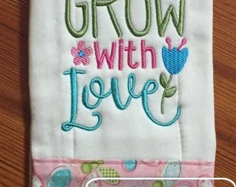 All things grow with Love saying embroidery design - Easter embroidery design - Spring embroidery design
