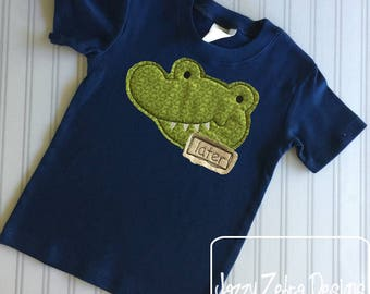 Later Gator Shabby Chic Appliqué design - alligator appliqué design - vintage appliqué design - gator appliqué design - bean stitch appliqué