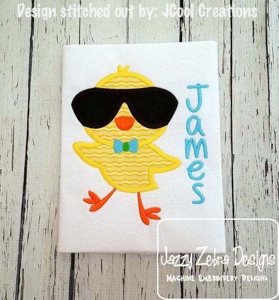 Boy Easter Chick wearing Sunglasses appliqué embroidery design - chick appliqué design - Easter appliqué design - boy appliqué design