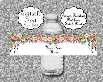 Floral Water Bottle Labels Baby Shower, Birthday, Wedding, EDITABLE, Printable, Boho Baby Shower Bottle Wrap - Wrapper INSTANT DOWNLOAD 020