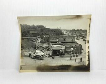 Original Service Station Photograph 1930s Antique City Photograph Old 1930s Gas Station Photo Original Photo
