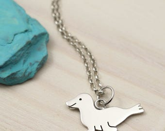 Sterling Silver Seal Necklace - Seal Jewellery - Silver Necklace - Handmade in England