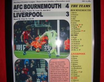 AFC Bournemouth 4 Liverpool 3 - 2016 - souvenir print