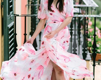 Wrap Dress - Floral Print Dress in Watercolour Floral, Flowy Summer Dress