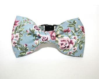 Floral Shabby Chic Pink Rose Vintage Bow Tie Breakaway Collar Cat, Kitten , Rabbit, Bunny, Puppy, Small Dog - Cat Lover - Dog Lover.