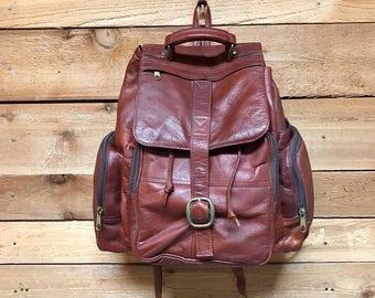 Vintage Large Leather Rucksack Vtg Brown Leather Backpack Satchel Daypack