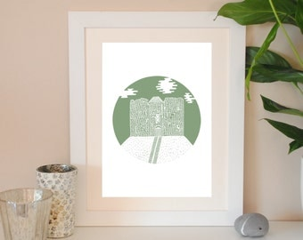 Cliffords Tower print – York architecture – Heritage art – Wedding gift – York landmark – housewarming gift – bon voyage gift – sage green