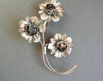 Coro Pegasus Sterling Brooch, Coro Sterling pin, Coro cabbage rose pin, coro sterling brooch, coro sterling silver, coro Adolph Katz