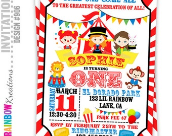 906: DIY - Circus Party Invitation Or Thank You Card