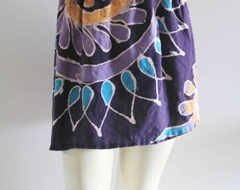 90's Vintage Batik-Dyed Natural Cotton Purple Floral Motif Mini Skirt