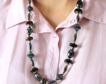 Black Rainbow Bead Necklace - Long Black Necklace - Rainbow Necklace