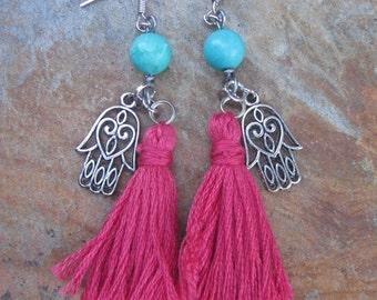 Tassel earrings Hamsa Hand boho accessories yoga jewelry turquoise hippie yoga bohemian earrings long dangle drop tassel  earrings