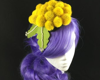 Yellow hat, Yellow fascinator, mini hat, millinery, party, yellow mini hat, costume idea, dandelion, kentucky derby, ladies hat, hair puff