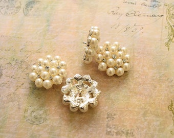 Rhinestone Button Embellishment, Shank back Rhinestone Button, Metal Rhinestone, Pearls Button, Large