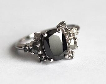 Black Diamond Ring, Black Diamond Cluster Ring, Black and Grey Diamond Ring, Grey Diamond Ring, Oval Diamond Ring, Unique Engagement Ring