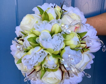 silk floral wedding bouquet, Peony bouquet