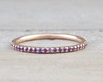 14k Rose Gold Purple Amethyst Dainty Thin Full Eternity Band Wedding Anniversary Engagement Promise Stackable Ring