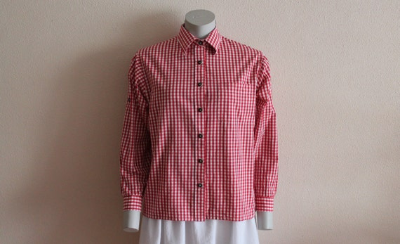 Gingham shirt vintage shirt women blouse red by vintageagency for Pink gingham shirt ladies