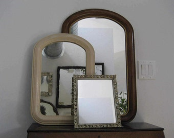 Vintage Instant Collection - Three mirrors - Two wooden wall - One metal tabletop - Antique Wavy mirror - Antique paint - Ready to hang