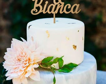 Name Cake Topper, Custom Cake Topper, Personalized Topper, Wedding Cake Topper, Cake Topper, Wedding, Rustic Cake Topper, Gold Cake Topper