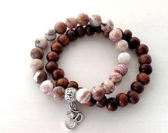 Yoga Pilates Om Ohm Natural Stone Wood Beaded Stretch Bracelet Set