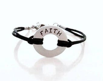 FAITH Hand Stamped Inspirational Motivational Religious Bracelet or Anklet YOU Select Your Cord Color