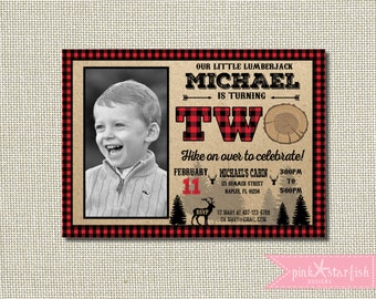 Lumberjack Birthday Invitation - Deer Wild One Second Birthday Invitation - Mountain Second Birthday Invitation - Buffalo Plaid Invite - 2nd