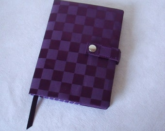 Purple Reusable Book Cover with Notebook Purple PU coated water resistant fabric. A5 Hardback lined notebook
