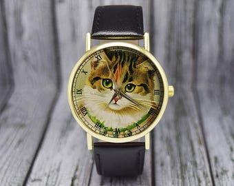 Vintage Style Kitten Watch | Cat Watch | Leather Watch | Ladies Watch | Men's Watch | Gift Ideas | Wedding | Birthday | Fashion Accessories