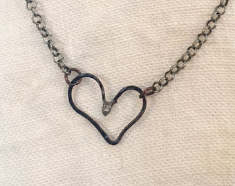 Small Forged Metal Heart Necklace