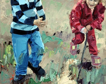 Original painting, impressionist painting, oil painting, wall art, childhood friends, painting, titled 'Best Friends III'. Ready to hang.