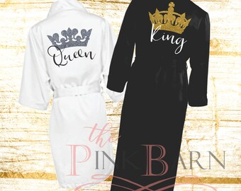 SALE Ships in 10 Days King and Queen Satin Robes Couple Robes Mr. Mrs. Robes His Her's Personalized  Kimono Robes Honeymoon Gift Name