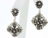 Jerusalem cross 980 Silver Clip Earrings