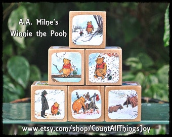 Personalized WINNIE THE POOH by A.A. Milne, Storybook Wooden Blocks, for Nursery Decor, Birthday, Gift for Boys, Girls, Large Medium Small
