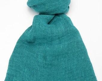 Green 100% linen scarf, green linen scarf, green flax scarf, spring scarf, linen shawl, green shawl, linen wrap, green scarf, unisex scarf