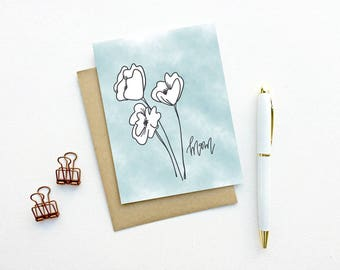 Card - Mom, with White Flowers | Mother's Day Card, Mom Floral Birthday Card, Baby Card, Birth Card, First Time Mom, New Mom Card