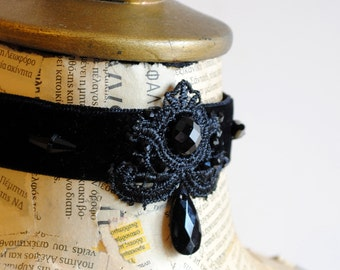 Black Velvet Gothic Choker, Victorian Choker with Lace and Crystals-Ready to Ship