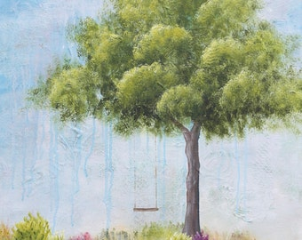 Summertime, Print from Original Acrylic Painting, Home Decor, Green, Blue, Sky, Swing, Tree, Abstract Art, Landscape