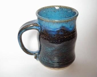 Black and Blue Stoneware Mug