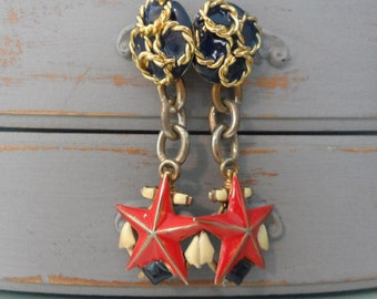 Showy Old Anchor Chain Patriotic Earrings Long Anchor Earrings Starfish Earrings Anchor Jewelry Nautical Earrings 4th of July Red White Blue