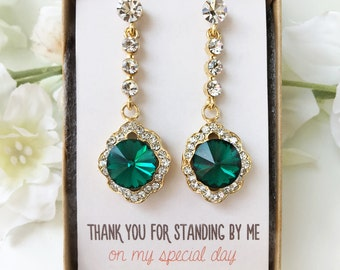 Bridesmaid Jewelry Maid of Honor Gift Bridal Party Jewelry Bridal Earrings Bridesmaid Earrings Gift from Bride Emerald Earring E354GGR