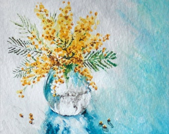 Original Floral Painting in Golden Yellow & Shades of Blue and Green | Acrylic | Gouache | Watercolor
