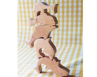 Balancing toy Dolphins - Kids gifts - Wooden balancer - Logic toys - Wooden animals - Waldorf toys - Organic stacking toy - 5 pcs set