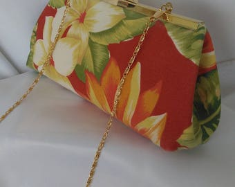 Coral red floral tropical beach wedding clutch purse red Hawaiian clutch purse  vacation clutch purse resort clutch BBsCustomClutches