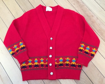 Vintage 1950s Baby Infant Boys Red Knit People Sweater Cardigan! Size 12-18 months