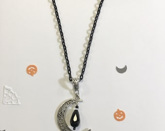 Crescent Moon drop bead necklace