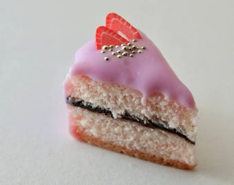 Light Pink Cake Charm with Strawberries